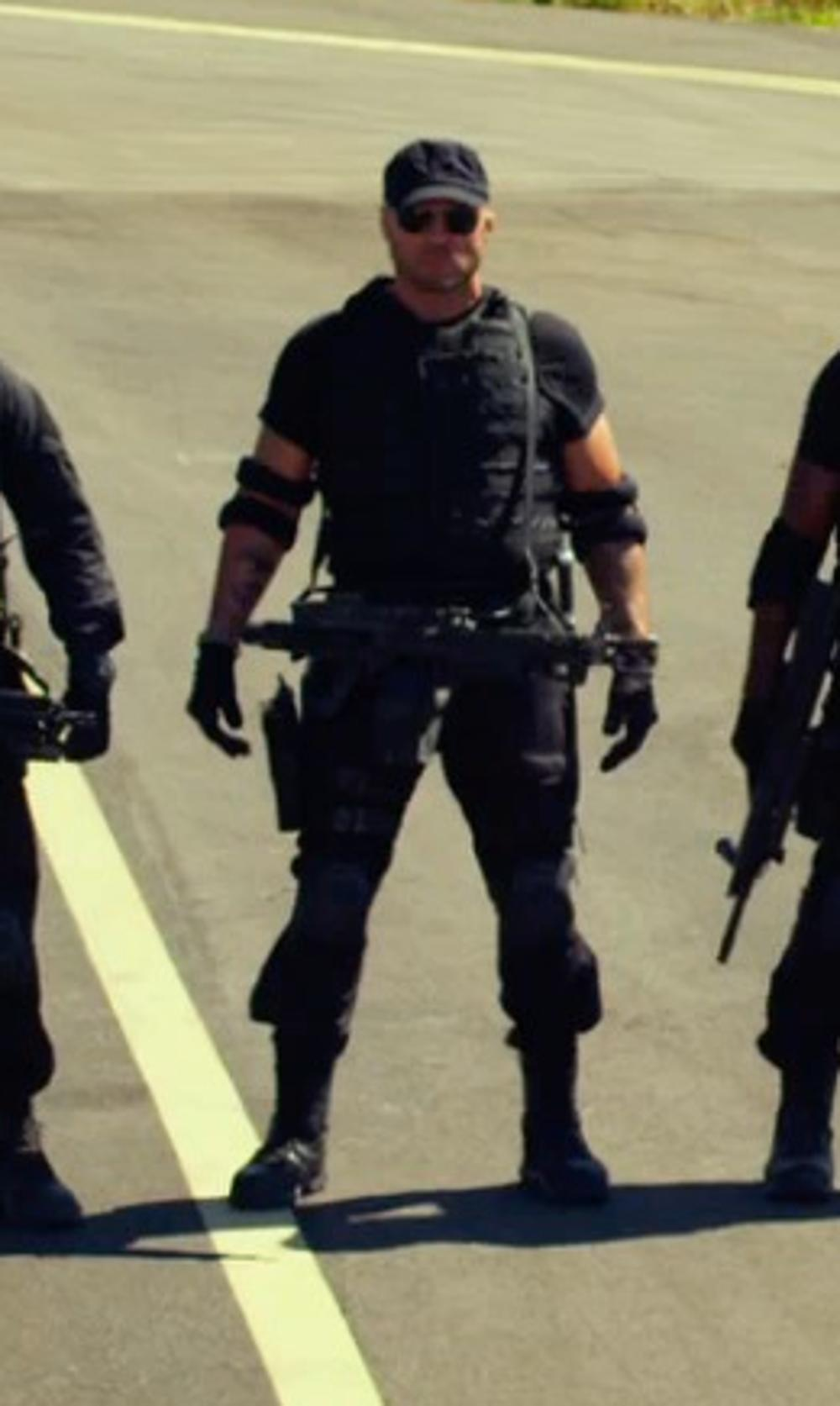 Randy Couture with Frye Men's Logger Boot in The Expendables 3