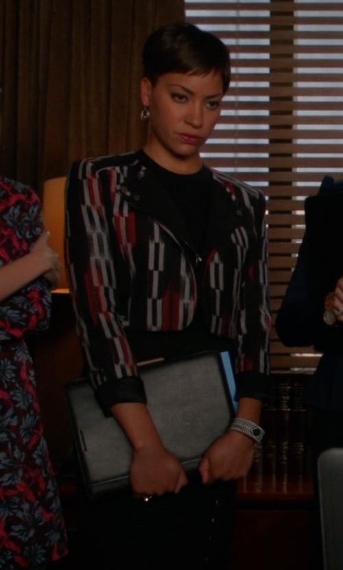 Cush Jumbo with Magaschoni	 Textured Jacquard Leather-Trim Jacket in The Good Wife