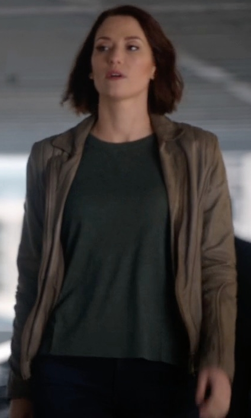 Chyler Leigh with Set The Tyler Leather Moto Jacket in Supergirl