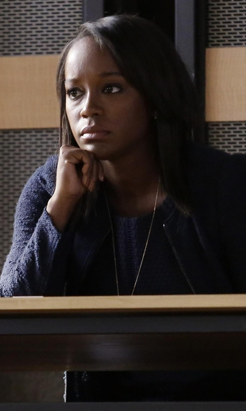 Aja Naomi King with Rebecca Taylor Bouclé Tweed Jacket in How To Get Away With Murder