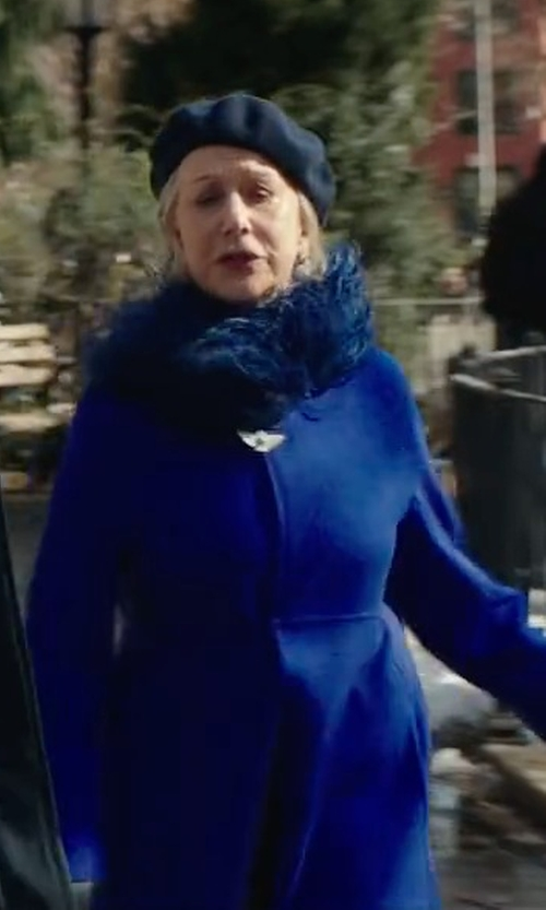 Helen Mirren with Harris Wharf London Virgin Wool Cocoon Coat in Collateral Beauty