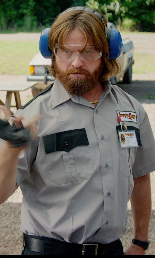 Zach Galifianakis with River Island Black Square Buckle Belt in Masterminds