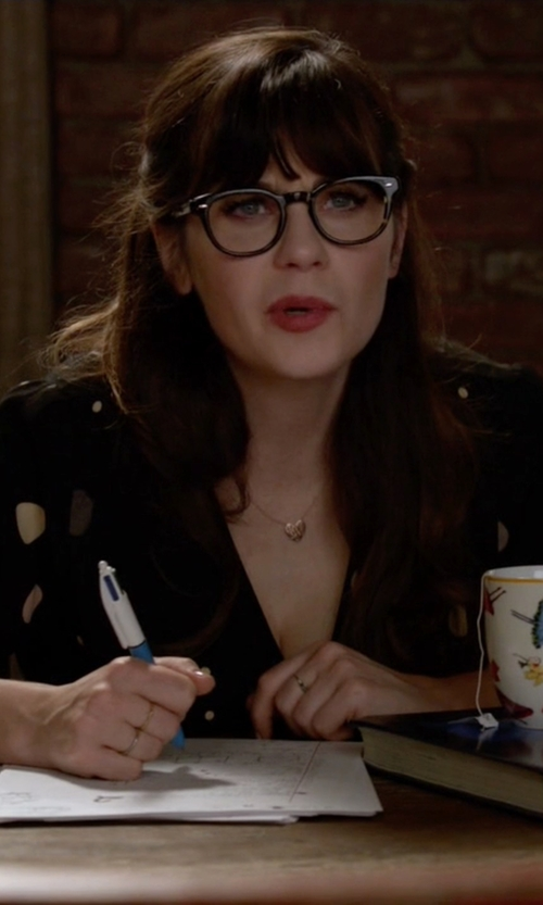 Zooey Deschanel with Charming Charlie Polka Dot V-Neck Top in New Girl