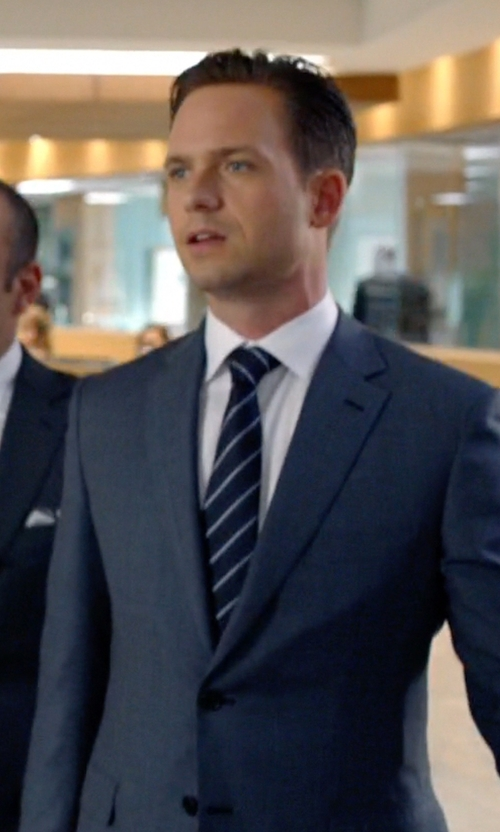 Patrick J. Adams with Brioni Mixed Stripe Neck Tie in Suits