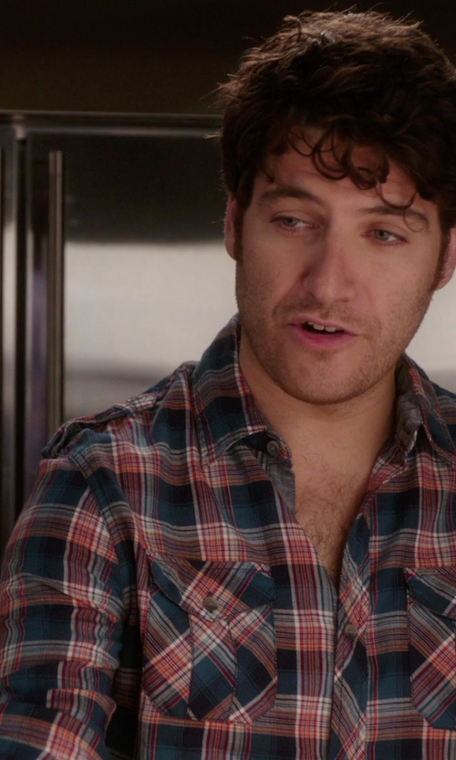 Adam Pally  with Lacoste Button Down Indigo Bold Plaid Woven Shirt in The Mindy Project