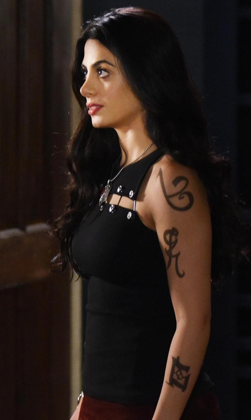Emeraude Toubia with Versus Versace Safety Pin Sleeveless Top in Shadowhunters
