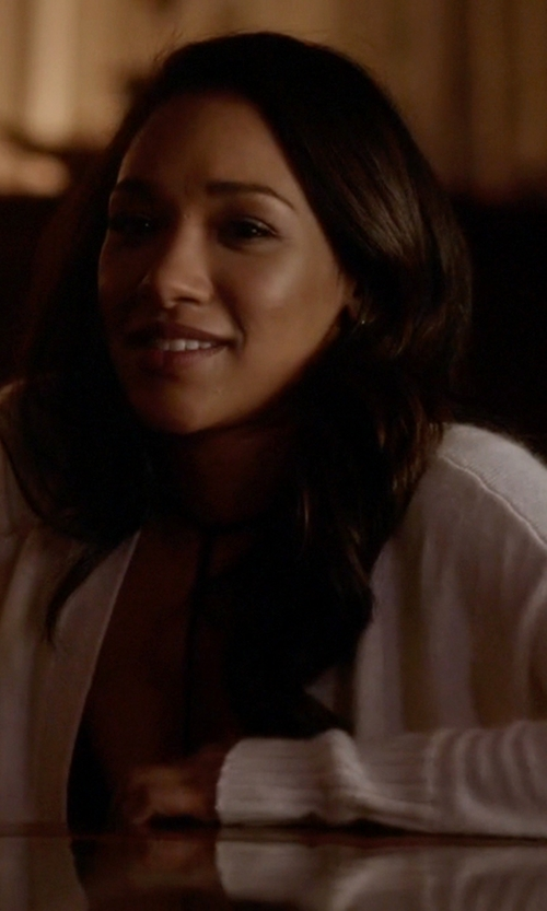 Candice Patton with Eileen Fisher Open-Front Cardigan in The Flash