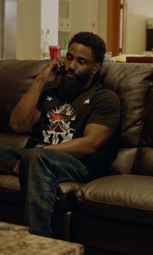 John David Washington with Alexander McQueen Optic Skull-Printed Short-Sleeve T-Shirt in Ballers