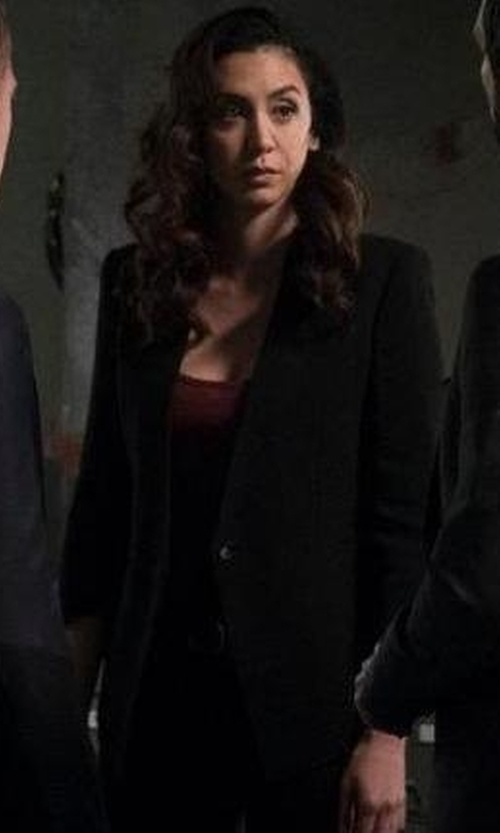 Megan Boone with Société Anonyme Collarless Blazer in The Blacklist
