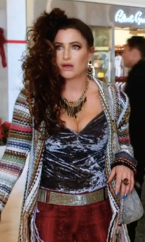 Kathryn Hahn with Goddis Naples Cardigan in A Bad Moms Christmas