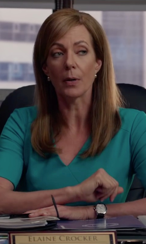 Allison Janney with Saks Fifth Avenue Gold Wide Hoop Earrings in Spy
