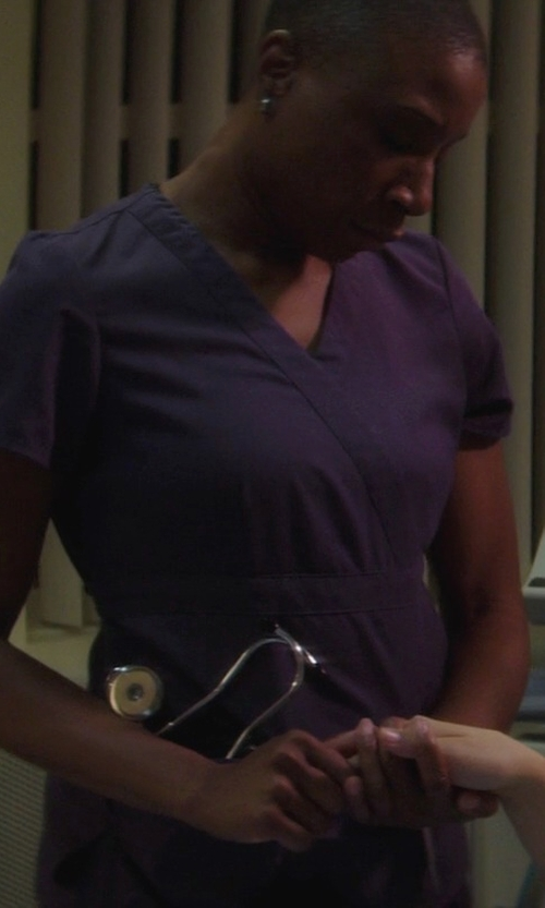 Aisha Hinds with Cherokee Women's Two Pocket Top and Flare Leg Pant Scrub Set in If I Stay