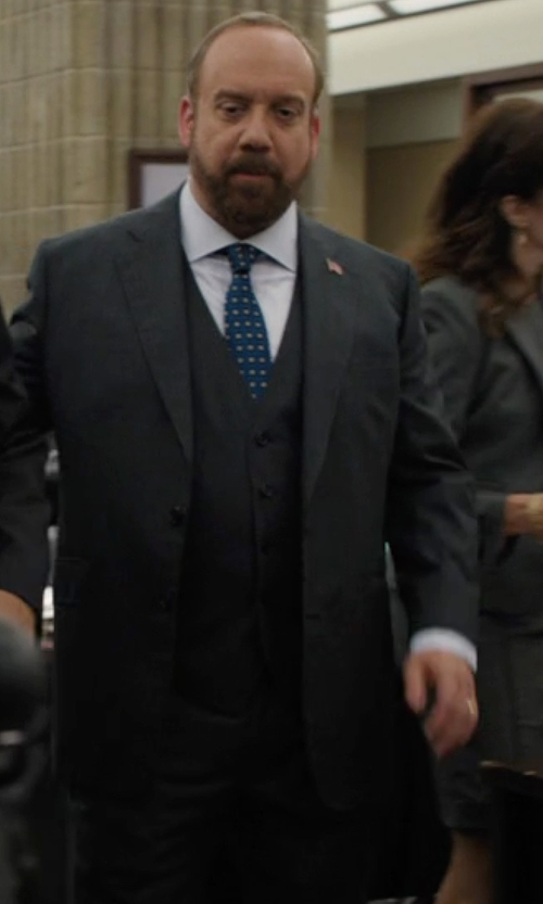 Paul Giamatti with Armani Collezioni Three Piece Suit in Billions