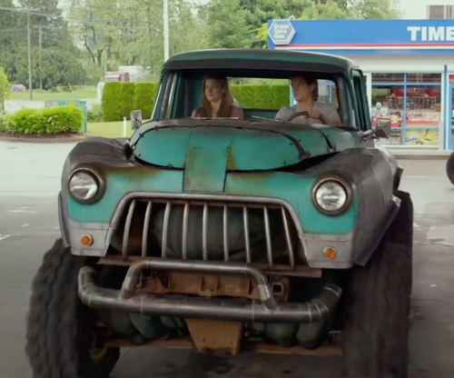 Lucas Till with Dodge 1954 Pickup Truck in Monster Trucks
