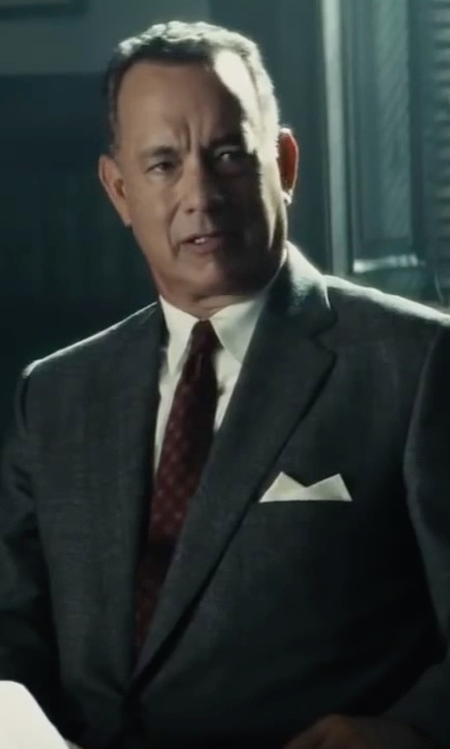 Tom Hanks with Valentino Square-Print Silk Tie in Bridge of Spies