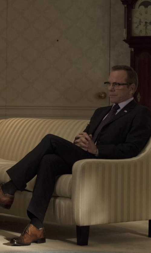 Kiefer Sutherland with Cole Haan Hamilton Cap Toe Oxford Shoes in Designated Survivor
