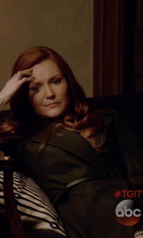 Darby Stanchfield with Donna Karan Belted Peplum Notched-Lapel Jacket in Scandal