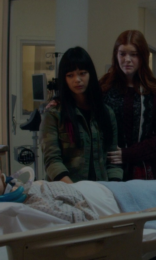 Arielle Tuliao with Loft Camo Buttoned Field Jacket in If I Stay