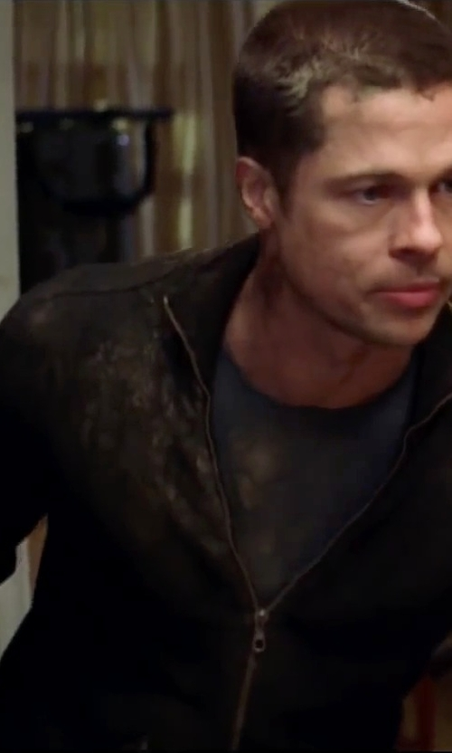 Brad Pitt with Boss Hugo Boss Black Wool Zip Front Cardigan in Mr. & Mrs. Smith