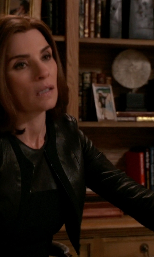 Julianna Margulies with Narciso Rodriguez Zip Leather Cardigan in The Good Wife