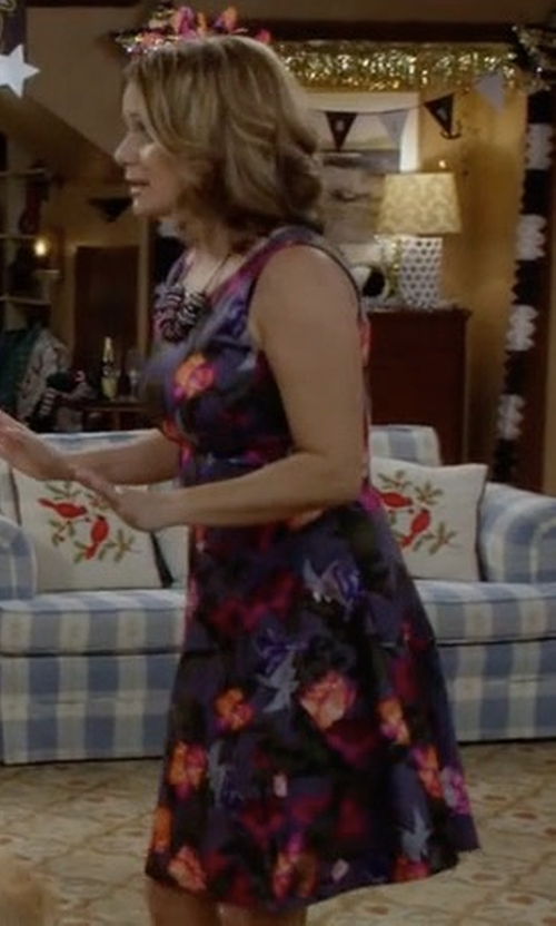 Andrea Barber with Cynthia Rowley Duchess Bombe Dress in Fuller House