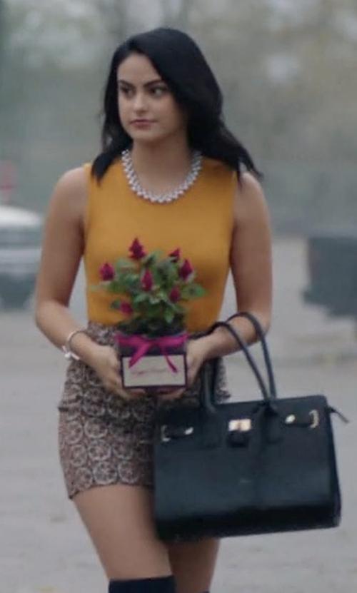 Camila Mendes with Saint Laurent Sac de Jour Nano Leather Bag in Riverdale