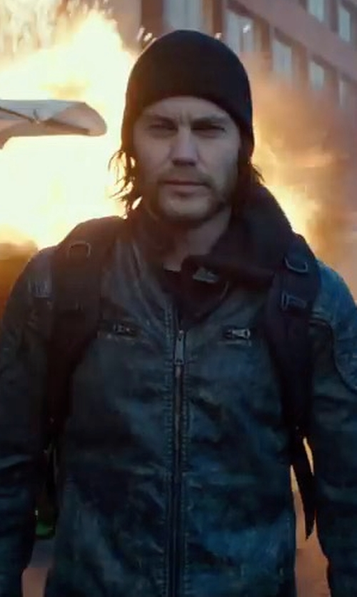 Taylor Kitsch with Michael Kors Perforated Leather Bomber Jacket in American Assassin