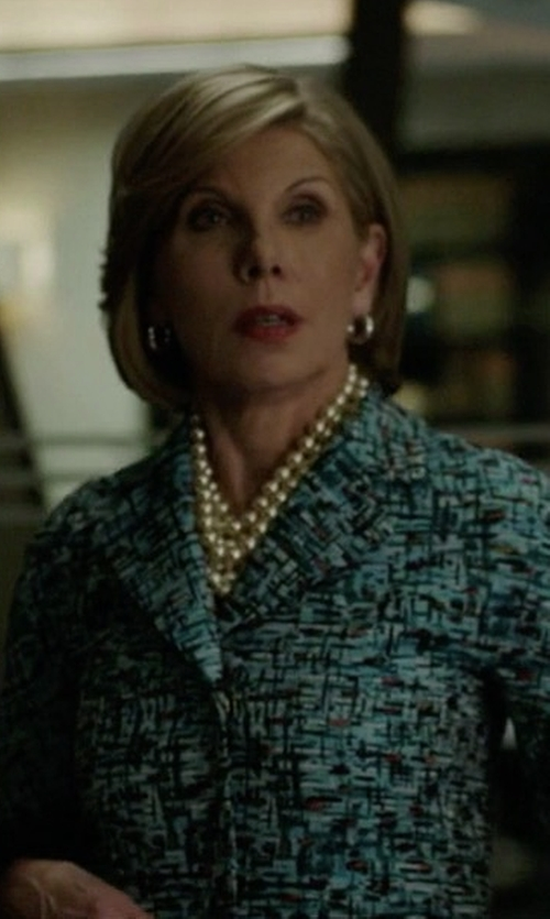 Christine Baranski with T-Jacket By Tonello Printed Blazer in The Good Fight