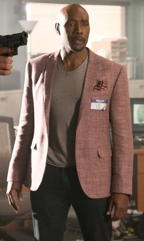 Morris Chestnut with Brunello Cucinelli Plaid Linen-Blend Two-Button Blazer in Rosewood