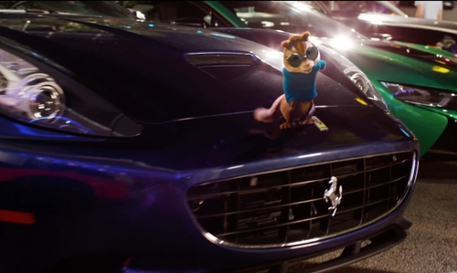 Matthew Gray Gubler with Ferrari California Coupe in Alvin and the Chipmunks: The Road Chip