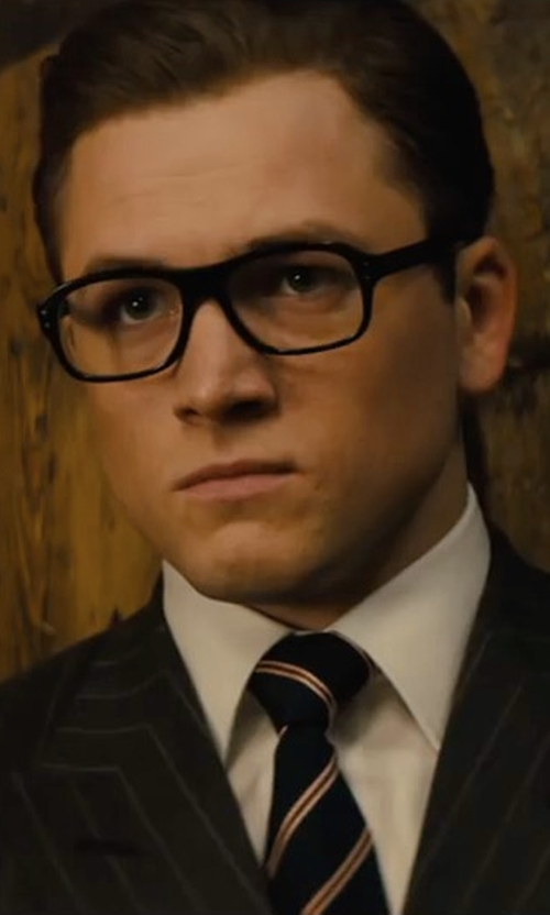 Taron Egerton with Drake's Striped Woven-Silk Tie in Kingsman: The Golden Circle