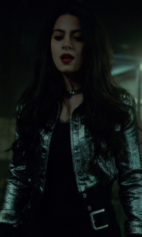 Emeraude Toubia with Cinq à Sept Kane Metallic Cropped Jacket in Shadowhunters
