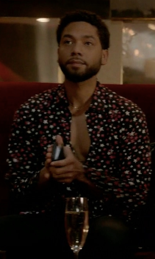 Jussie Smollett with Saint Laurent Multi-Color Star Printed Shirt in Empire