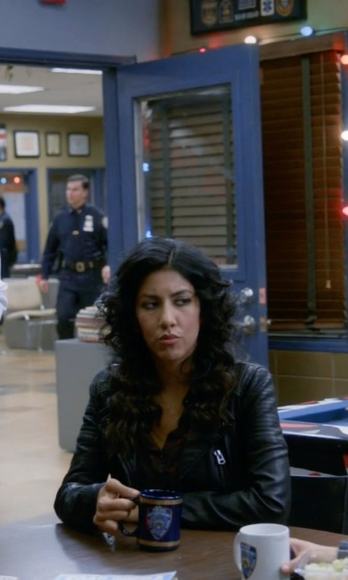 Stephanie Beatriz with Asos Barneys Leather Biker Jacket in Brooklyn Nine-Nine