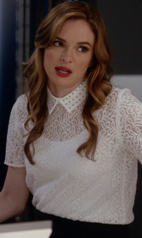 Danielle Panabaker with The Kooples   Lace Polo Shirt With Embellished Collar in The Flash