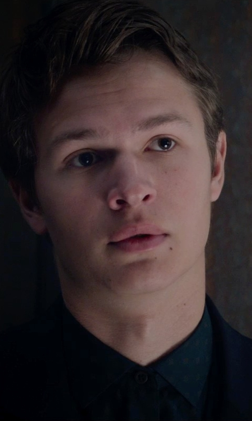 Ansel Elgort with Tallia Slim-Fit Black Print Dress Shirt in The Divergent Series: Insurgent