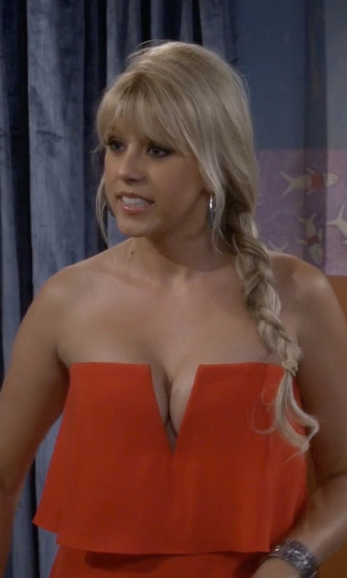 Jodie Sweetin with BCBGMAXAZRIA Kate Strapless Popover Dress in Fuller House