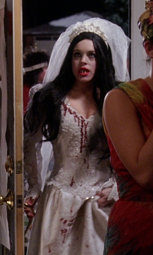 Lindsay Lohan with Disney Enchanted Giselle Wedding Gown in Mean Girls