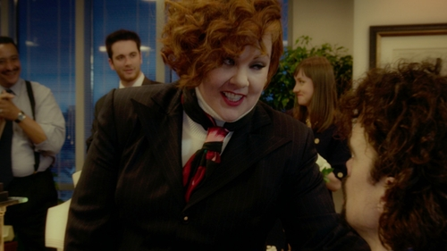 Melissa McCarthy with Rockins Rose Printed Silk Scarf in The Boss