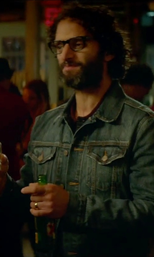 Jason Mantzoukas with Levi's Relaxed Trucker Denim Jacket in Sleeping with Other People