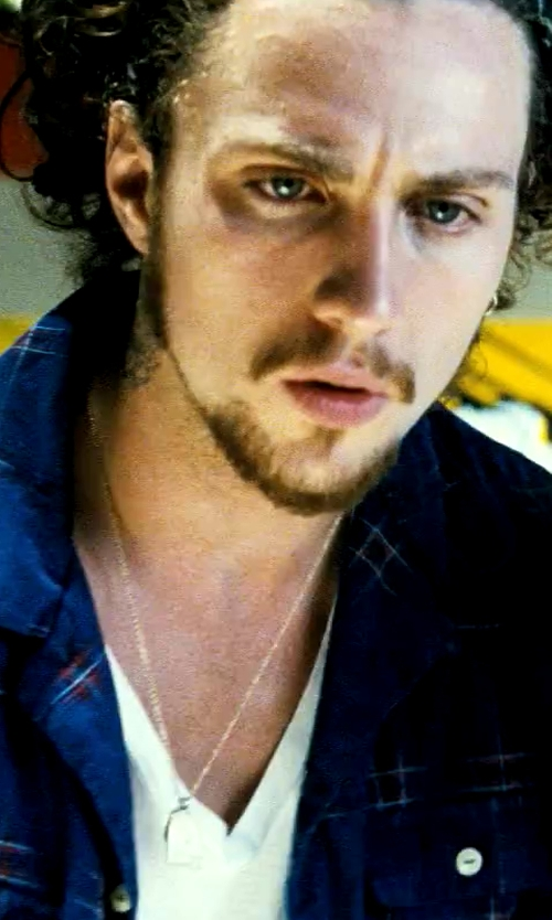 Aaron Taylor-Johnson with Woolrich John Rich & Bros. Men's Indigo Check Shirt in Savages
