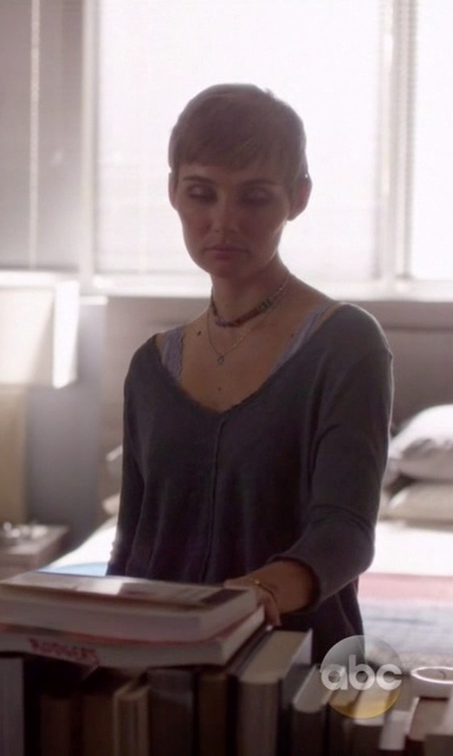 Clare Bowen with Neiman Marcus Cashmere Collection V-Neck Cashmere Pullover in Nashville