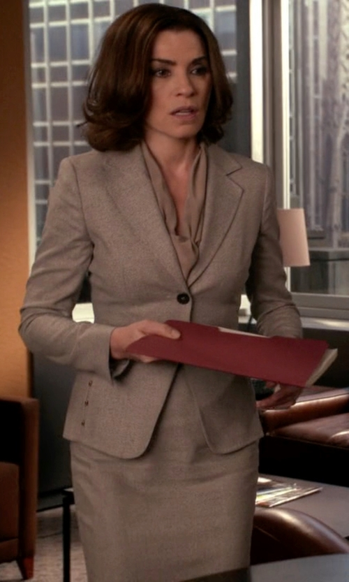 Julianna Margulies with Maison Margiela One Button Blazer in The Good Wife