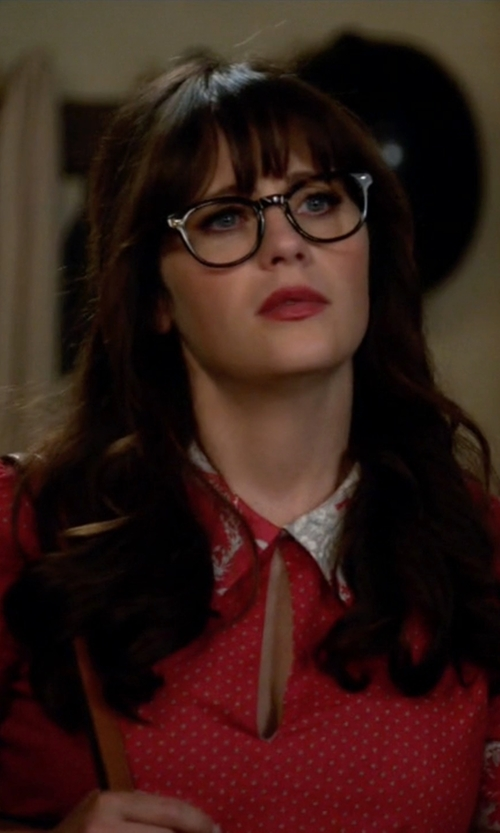 Zooey Deschanel with Debra McGuire (Costume Designer) Custom Made Dot & Floral Dress in New Girl