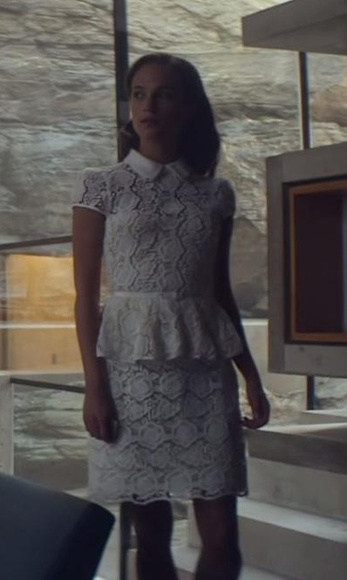 Alicia Vikander with Karen Millen Cute Feminine Lace Skirt in Ex Machina