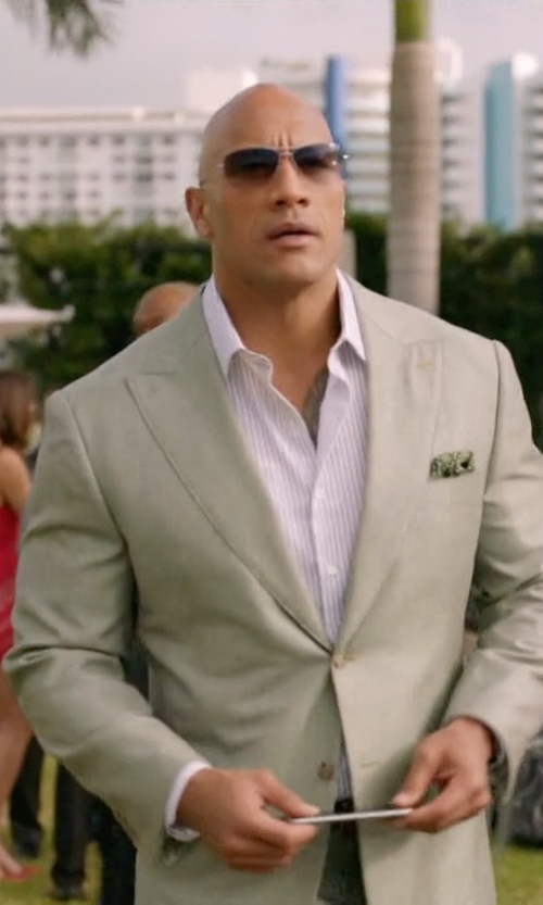 Dwayne Johnson with Eton of Sweden Camo Pocket Square in Ballers