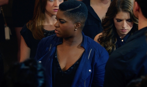 Ester Dean with Sanctuary Heathered Mesh V-Neck Top in Pitch Perfect 2