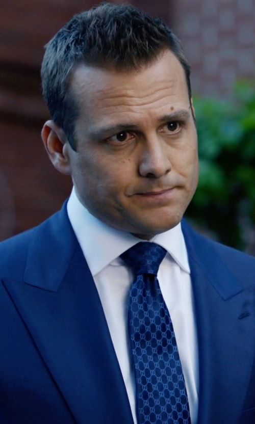 Gabriel Macht with Gucci Monogrammed Silk Tie in Suits