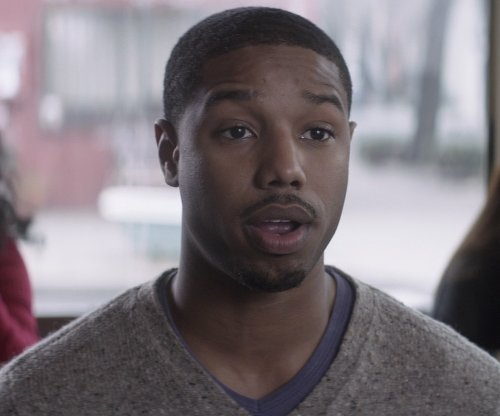Michael B. Jordan with Versace Collection Tone-on-Tone V-Neck Tee in That Awkward Moment