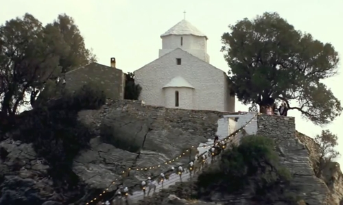 Amanda Seyfried with Ekklisia Agios Ioannis Church Sporades, Greece in Mamma Mia!